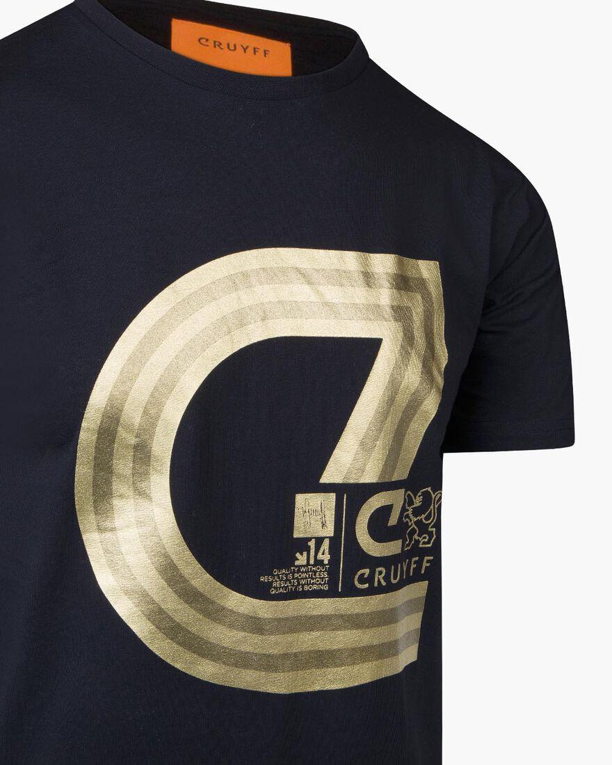 Lluis SS T-Shirt - Black/Gold - 95% Cotton / 5% El, Black/Gold, hi-res