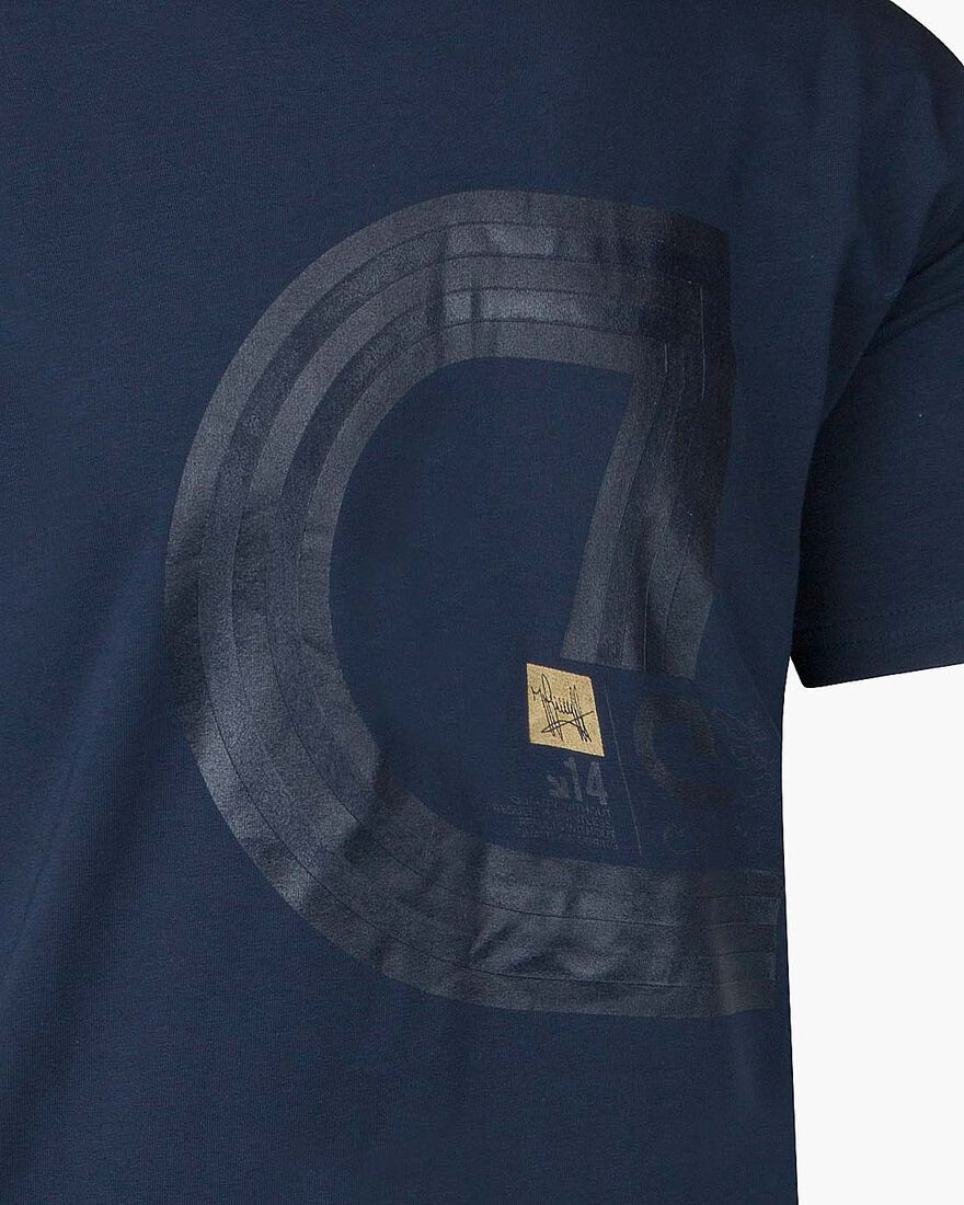 Lluis SS T-Shirt - Black/Gold - 95% Cotton / 5% El, Navy, hi-res