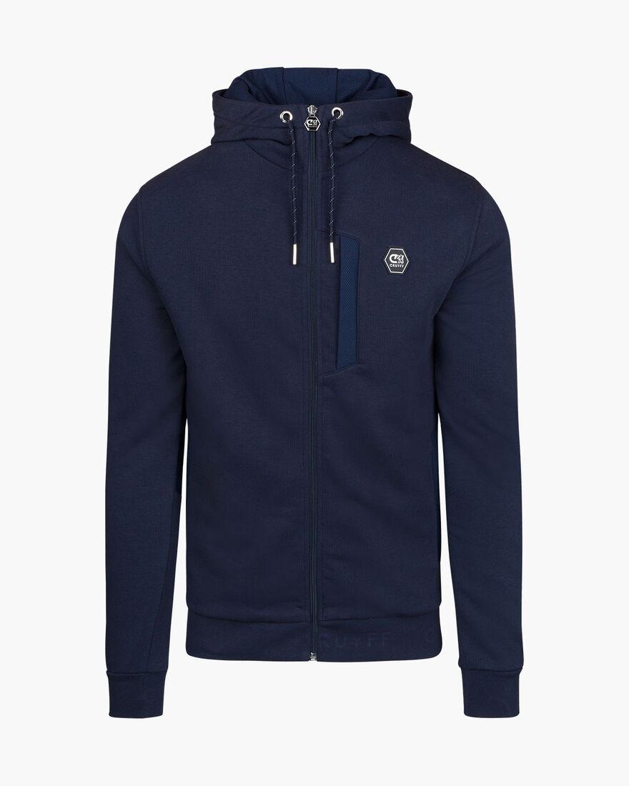 Bassa zip-thru hood - Black - 65% Cotton / 35% Pol, Navy, hi-res