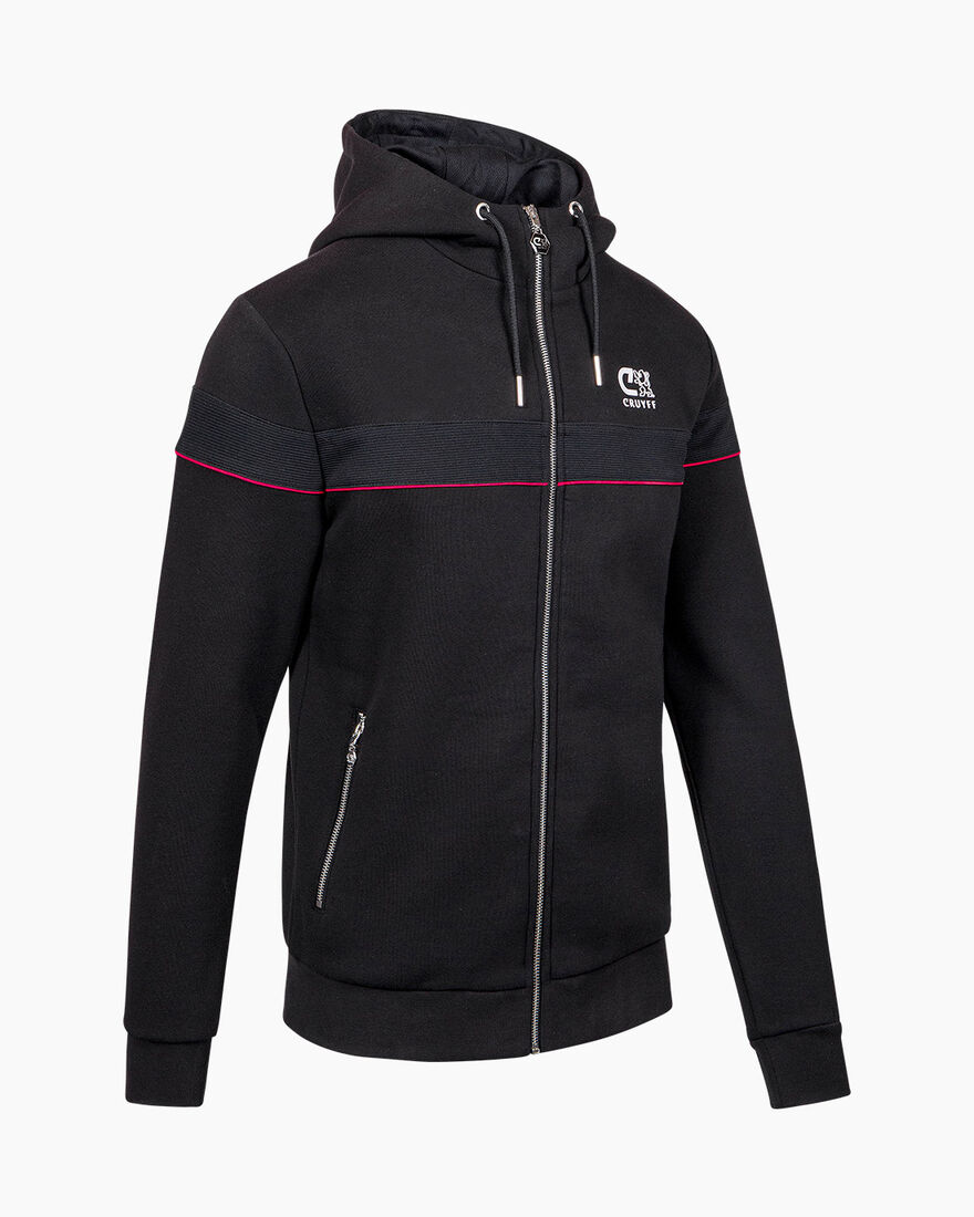 Ferran Zip Thru Hood - Black - 65% Cotton / 35% Po, Black, hi-res