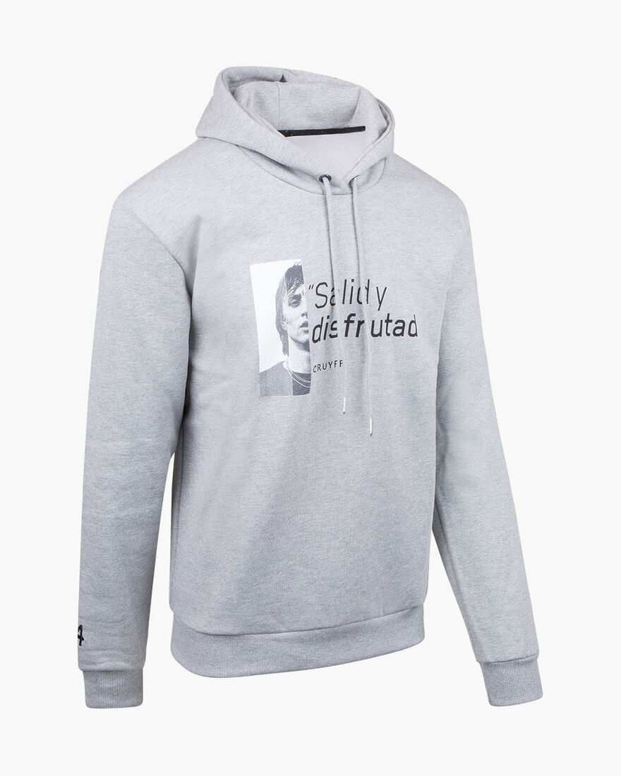 Cruyff Portrait Hoodie - Grey Melange - 50% Cotton, Grey, hi-res