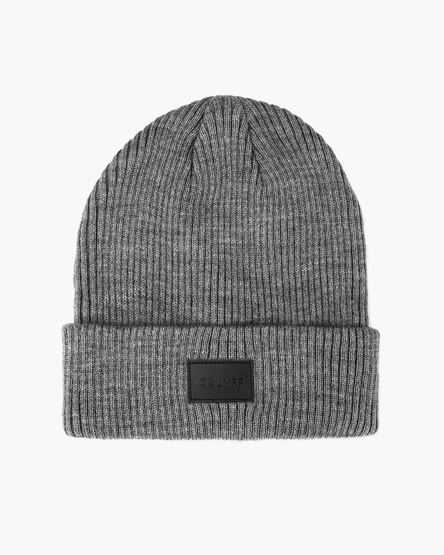 PU Badge Beanie, Grey, hi-res