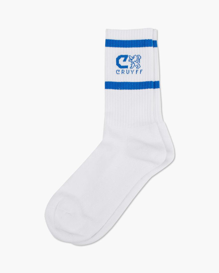 Hernandez 2 Stripe Sport Socks, White/Blue, hi-res