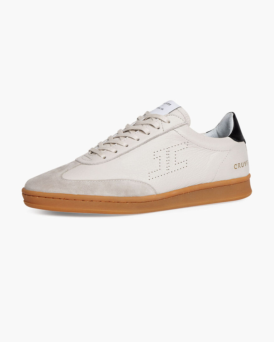 JC Futbol Trainer - Cream - Soft Grain Leather, Crème, hi-res