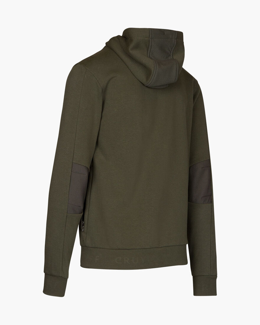 Bassa zip-thru hood - Black - 65% Cotton / 35% Pol, Army green, hi-res