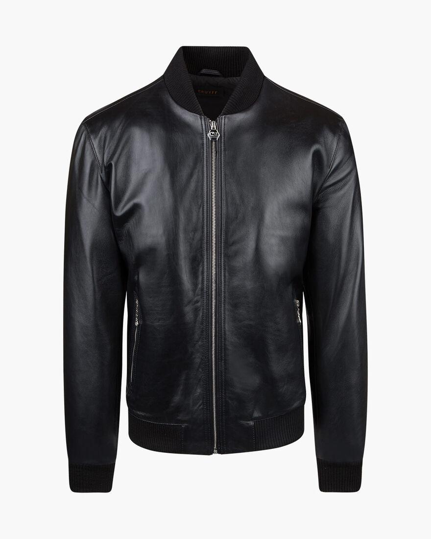 Julio Leather Bomber, Black, hi-res