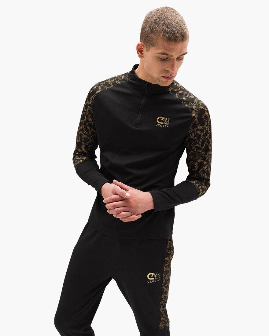 Rosario Half-zip Track Suit - Black/Gold - 100% Po, Black/Gold, hi-res