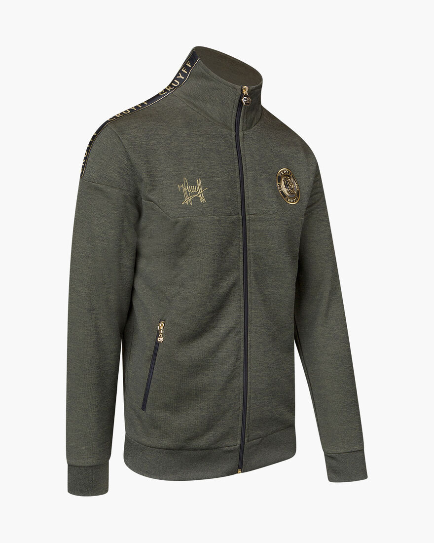 Valentini Track Top - Charcoal Muline - 65% Polyes, Army green, hi-res