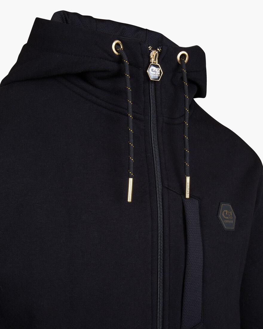 Bassa zip-thru hood - Black - 65% Cotton / 35% Pol, Black, hi-res