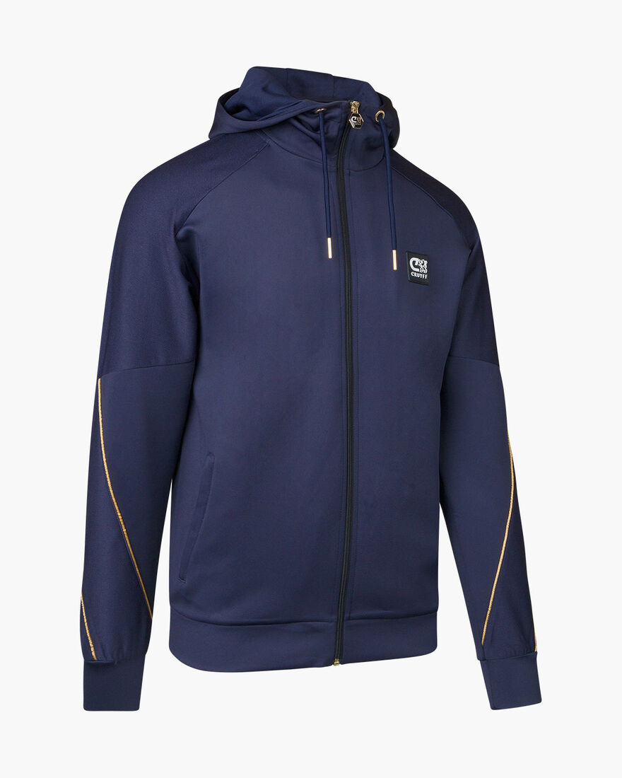 Gaspar Zip Thru - Navy/Gold - 95% Polyester / 5% E, Navy, hi-res