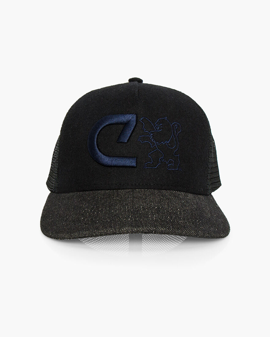 C Trucker Cap, Black, hi-res