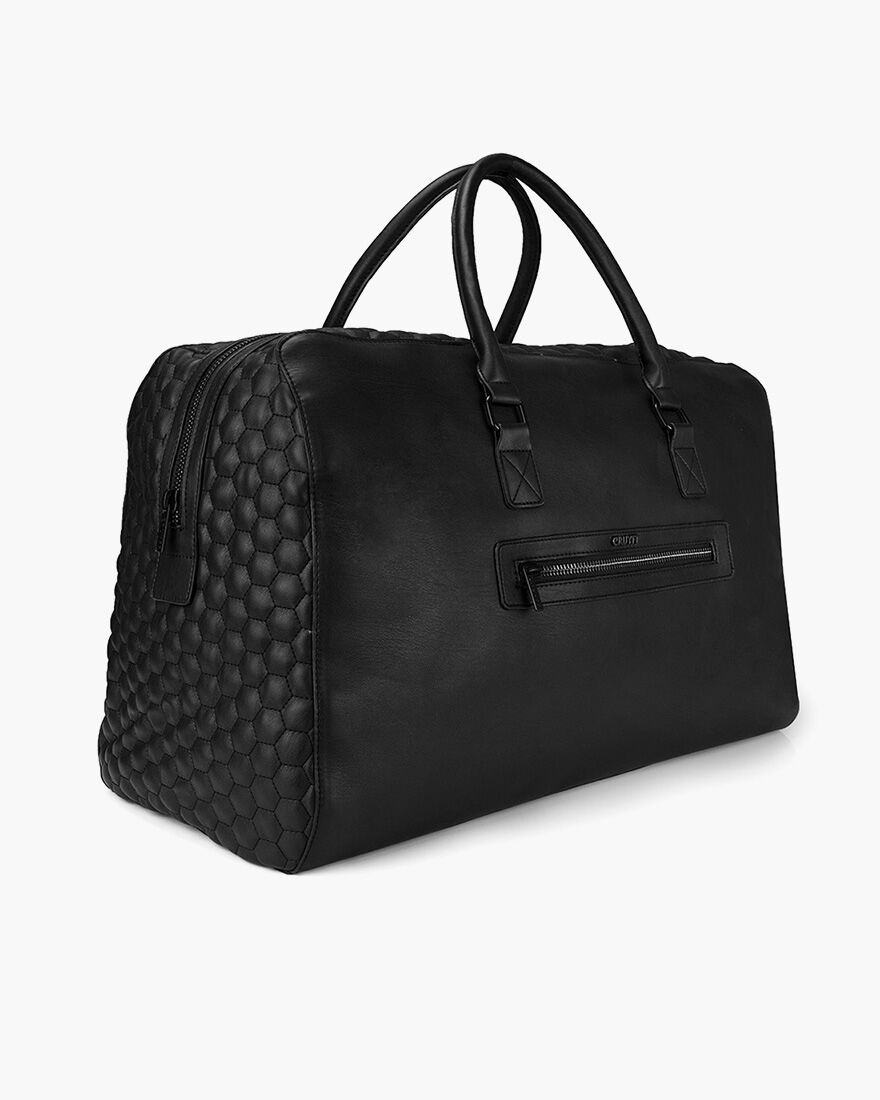 Stitched Hexagon Weekendbag, Black, hi-res