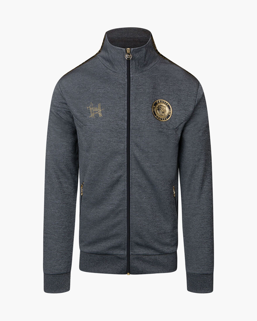 Valentini Track Top - Charcoal Muline - 65% Polyes, Antracite, hi-res