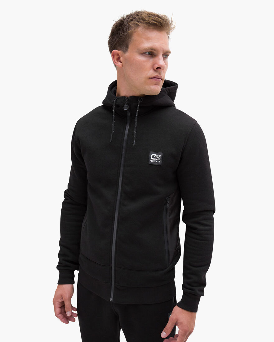 Bassa zip-thru hood, Black, hi-res